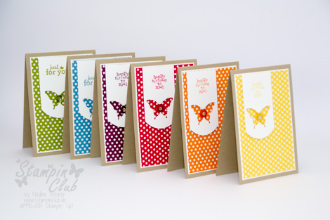 _DSC0115 Stampin Up Cards Stamp A stack DSP Polka Dot Parade Just for you Luftpost up up and away Eleganter Schmetterling Stanze Punch Elegant Butterfly_