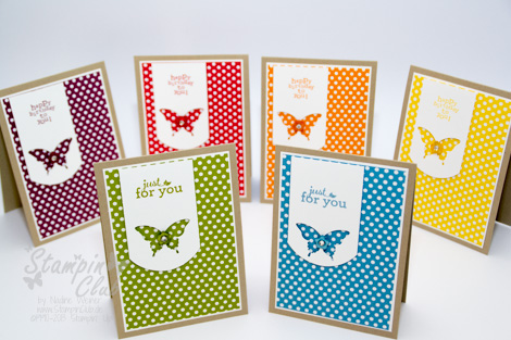 _DSC0117 Stampin Up Cards Stamp A stack DSP Polka Dot Parade Just for you Luftpost up up and away Eleganter Schmetterling Stanze Punch Elegant Butterfly_