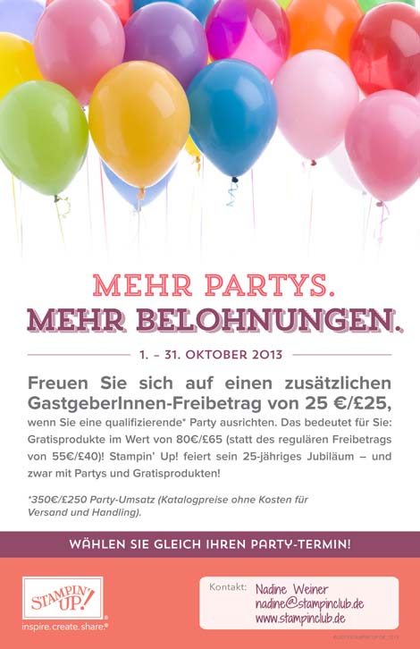 2013-10 Stampin Up Aktion Oktober 2013 mehr Gastgeberinnen-Euros Flyer