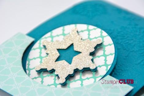 DSC_2170 Stampin Up Christmas Weihnachten Thinlits Circle Card Form Pop-Up-Karte Kreis Festive Flurry Framelits Dies Flockentanz DSP Winter Frost Eiszauber Northern Flurry Eiskristall Prägefolder A6_