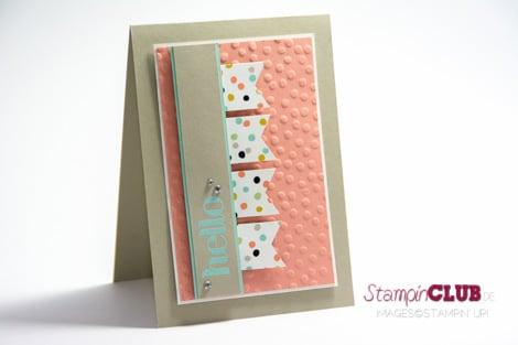 DSC_2972 Stampin Up Match the Sketch Challenge Four You sale-a-bration 2014 Decorative Dots Embossing Folder Prägeform Punkteregen Sweet Sorbet Süßes Sorbet DSP_