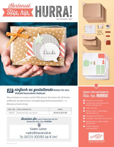 Stampin Up Kartenset Stempel Hip hip hurra Foto Flyer