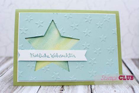 20140907Stampin Up Christmas Weihnachten 2014 Lucky Stars Textured Impressions Embossing Folder Glückssterne Gesammelte Grüße Aquarell