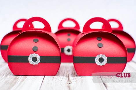20140914Stampin Up Christmas Weihnachten Curvy  Keepsakes Box Santa Thinlits Formen Zierschachtel für Andenken Nikolaus