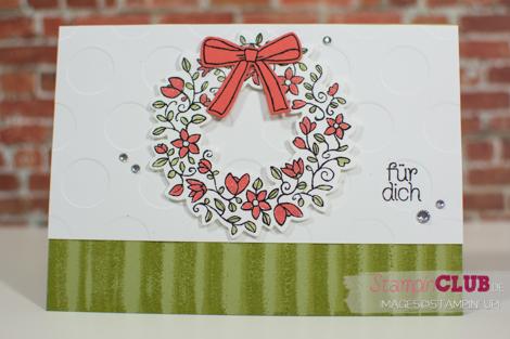 20160224 Stampin Up Bouncing Brayer Technique Fruehlingsreigen Circle Of Spring Framelits Formen Willkommen Weihnachten Wonderful Rreath Framelits_