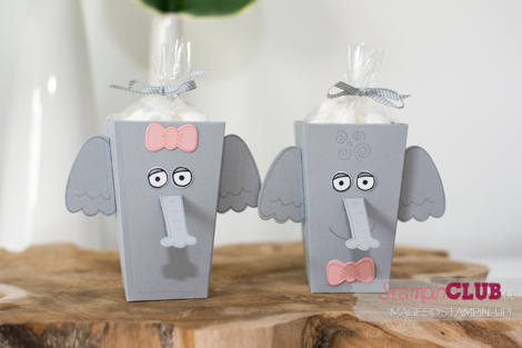 20160709 Stampin Up Playful Pals Popcorn Box Thinlits Elephant Elefant_