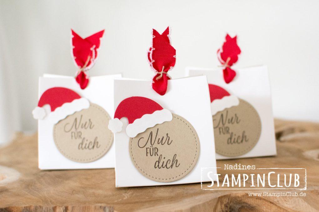 stampinclub, stampin up, stickmuster, drauf und dran, geschenktüten, weihnachtsmütze