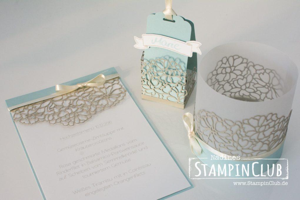 StampinClub, Stampin' Up!, Hochzeitspapeterie, Winterhochzeit, Liebe zum Detail Thinlits Formen, Menükarte, Tischkarte, Windlicht