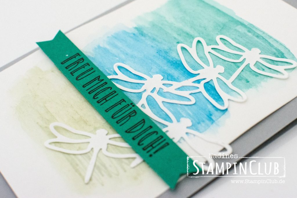 Stampin Up, StampinClub, Thinlits Formen Libelle, Detailed Dragonfly Thinlits Dies, Watercolor, Aquarell, Feierstimmung, Happy Celebrations