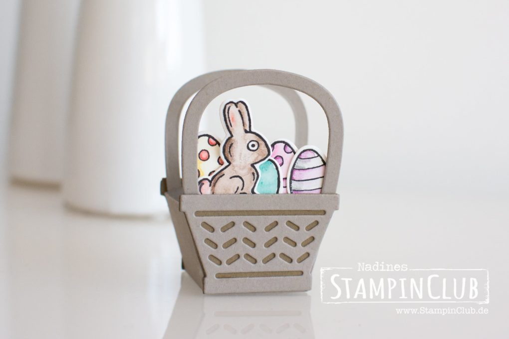 Stampin' Up!, StampinClub, Osterkörbchen, Ferrero Küsschen, Verpackung, Box, Korb, Osterkorb, Basket Bunch, Basket Builder Framelits