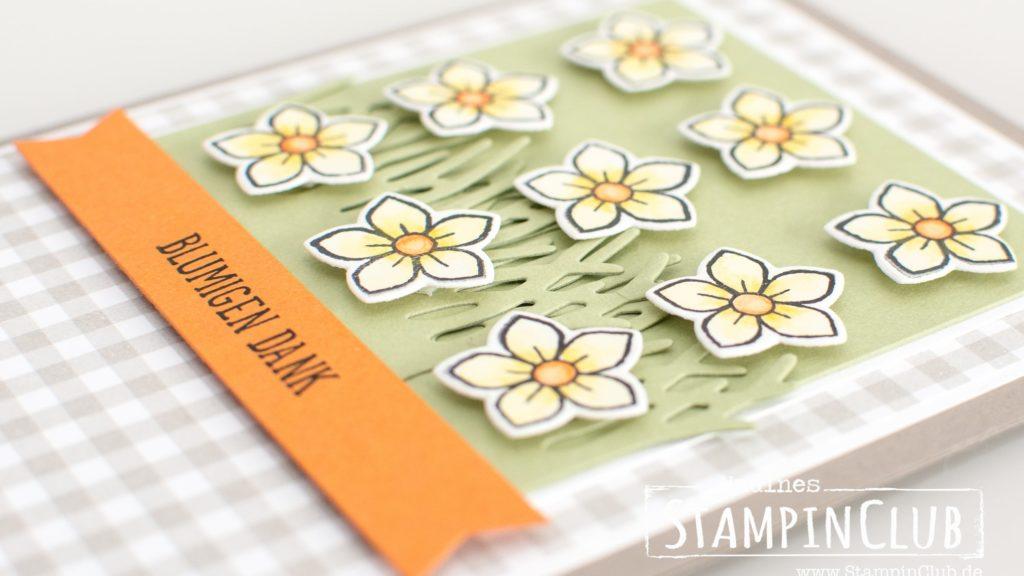 Stampin' Up!, StampinClub, Osterkörbchen, Basket Bunch, Basket Builder Framelits, Frühling, Frühlingskarte, Dankeskarte