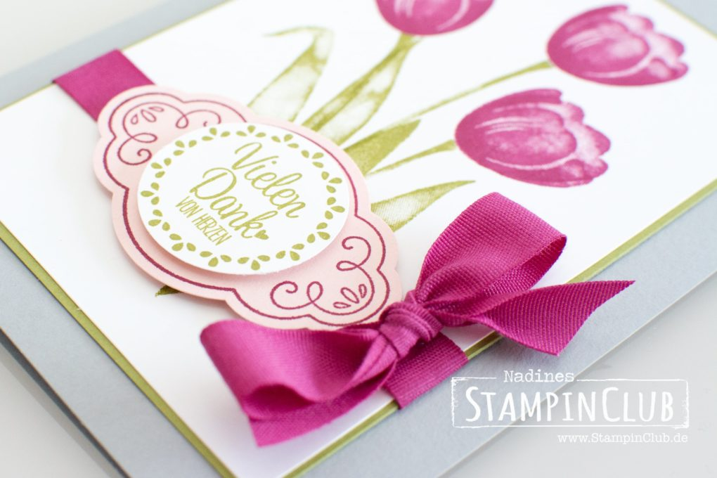 Stampin' Up!, StampinClub, Tranquil Tulips, Quartett fürs Etikett, Label me pretty
