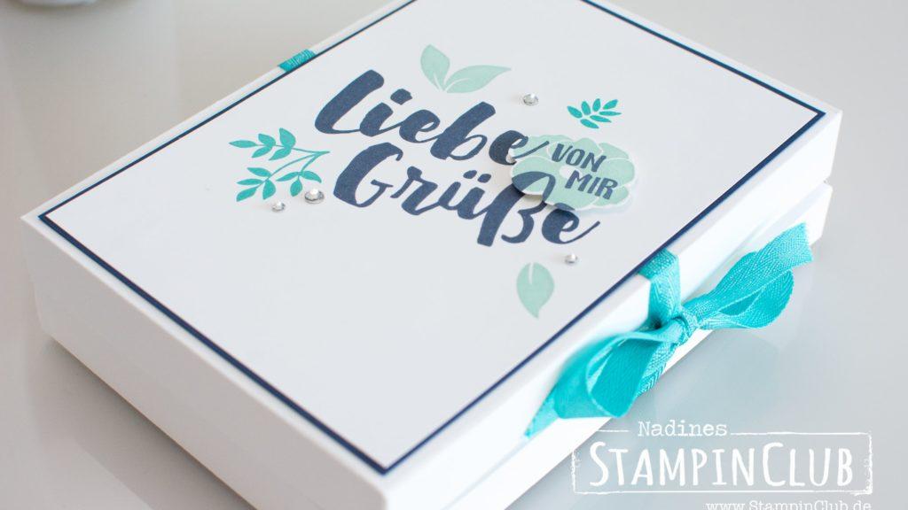 Stampin' Up!, StampinClub, Envelope Punch Board, Grußkarten-Geschenkset, Verpackung, Box, Stationary Box, Ganz liebe Grüße, Lot of Love