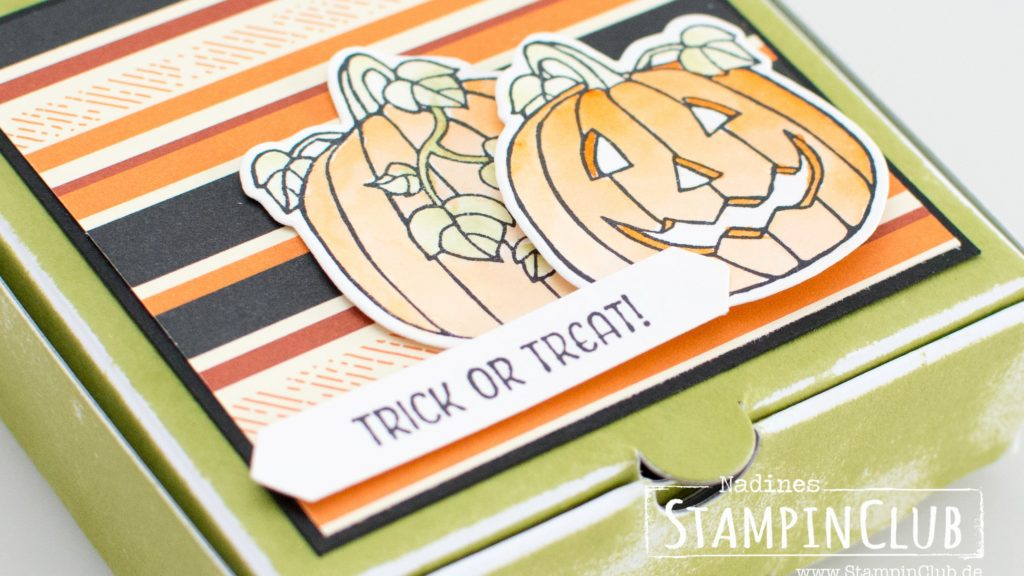 Seasonal Chums, Stampin' Up!, StampinClub, Halloween, Pumpkin, Mini-Pizzaschachteln