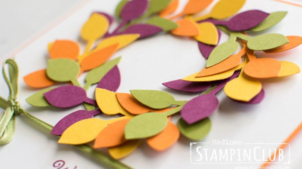 Stampin' Up!, StampinClub, Herbstanfang Leaf Punch, Kranz, Herbst, Stanze Blätterzweig