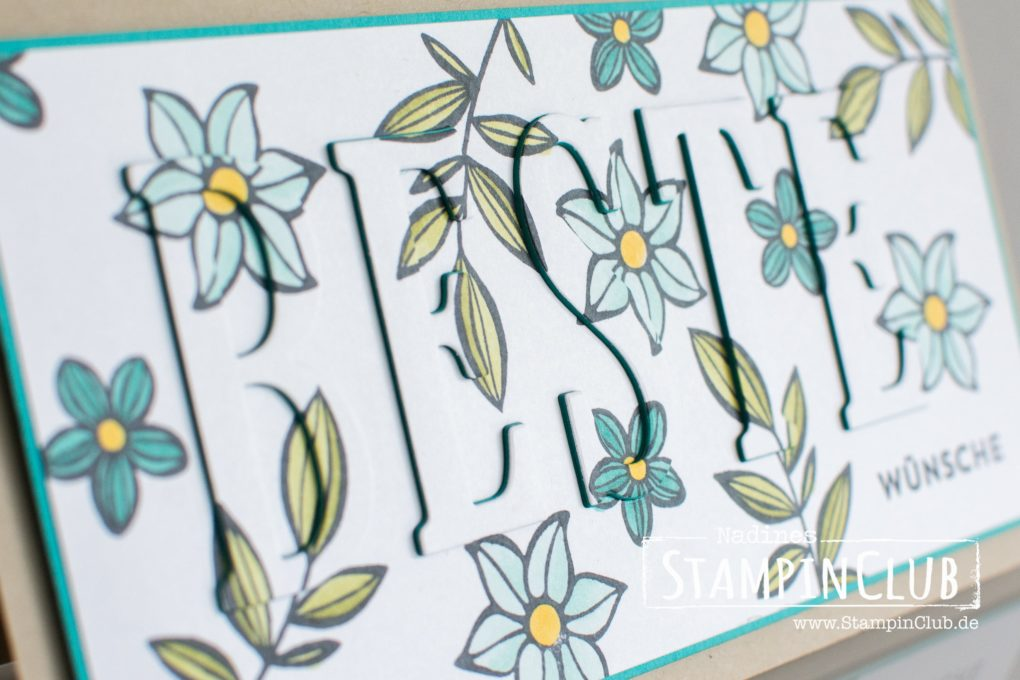 Stampin' Up!, StampinClub, Stampin' Blends, Falling Flowers, Eclipse Technik, Floating Letters