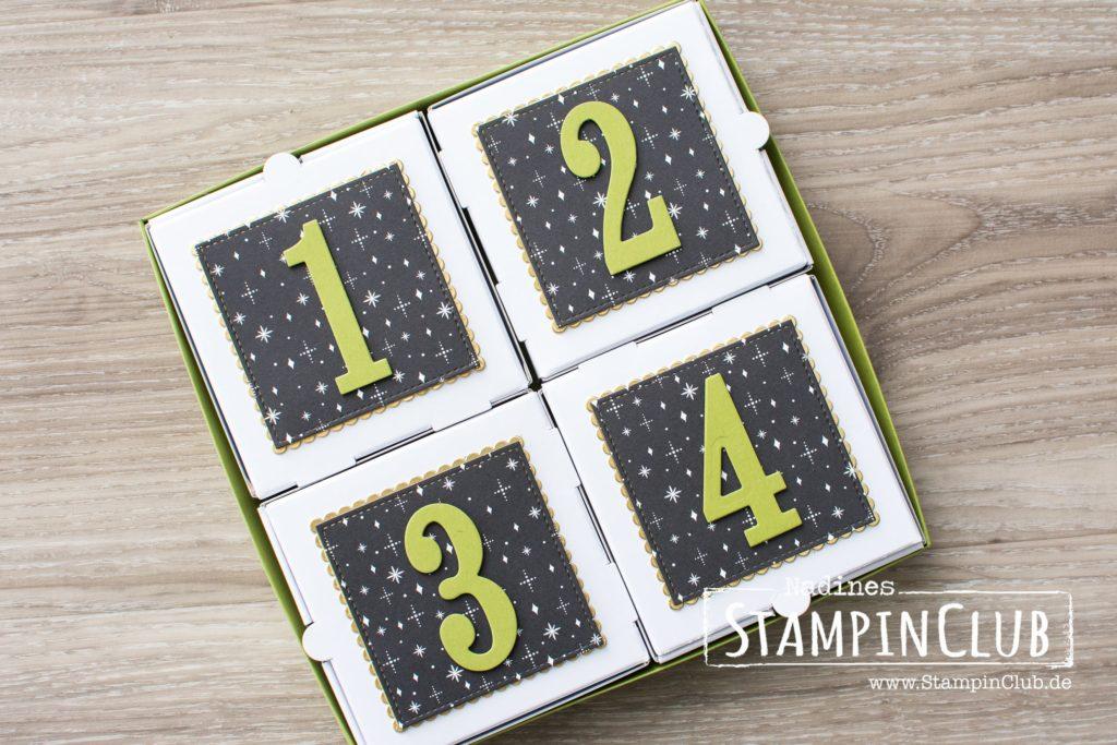 Stampin' Up!, StampinClub, Adventskalender, Mini-Pizzaschachteln, Framelits Große Zahlen