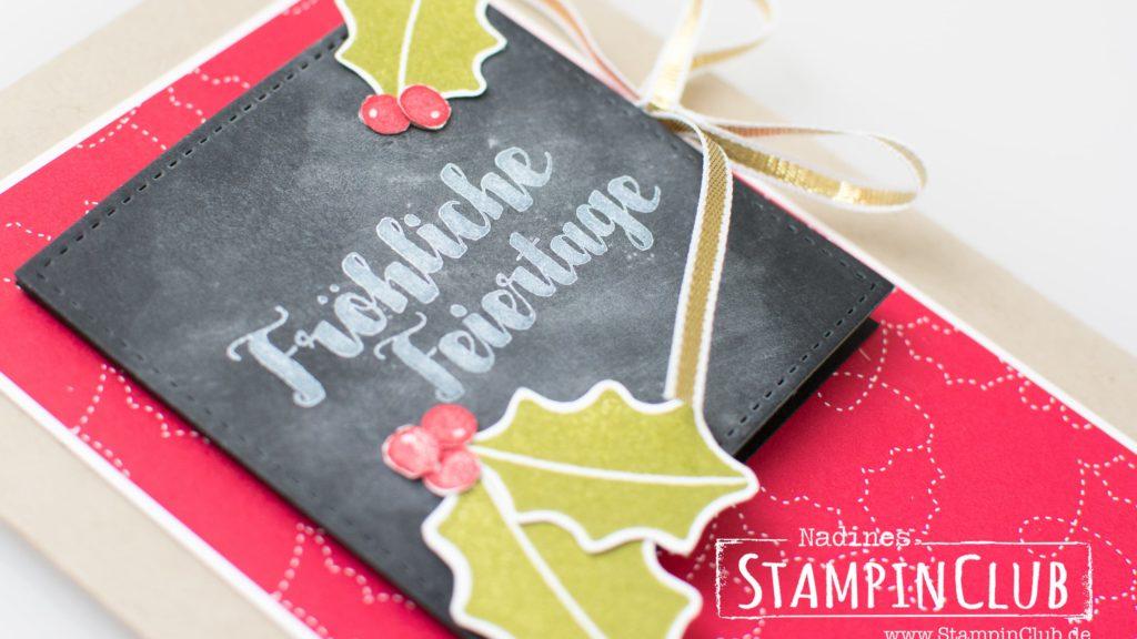 Stampin' Up!, StampinClub, Weihnachtskarte, Geldscheinfach, Gut geschmückt, Tags & Trimmings, Tafeltechnik, Chalkboard