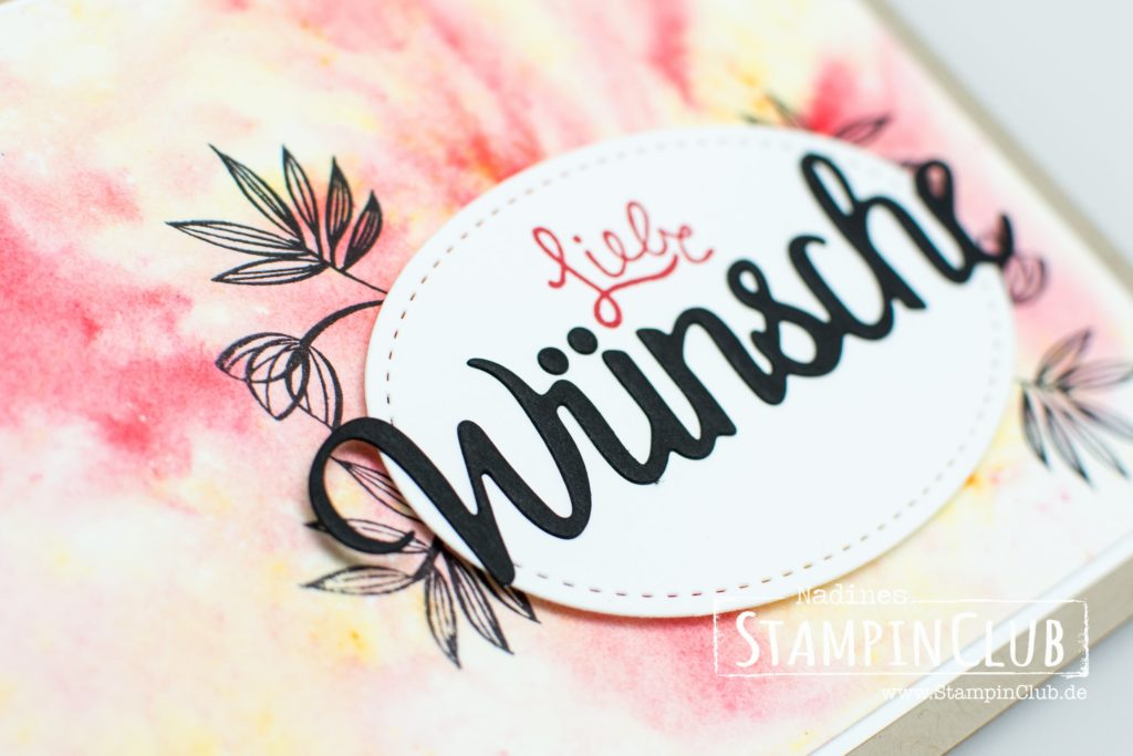 Stampin' Up!, StampinClub, Brushos, Brusho Crystal Color, Wunderbare Wünsche, Lovely Wishes, Einfach Wunderbar, Amazing You, Thinlits Formen Wunderbar, Celebrate You Thinlits