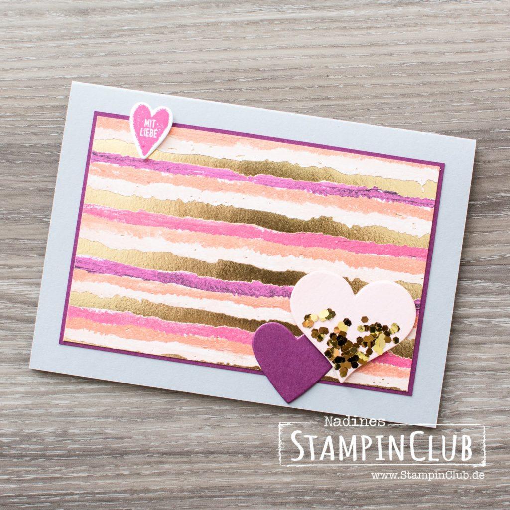 Stampin' Up!, StampinClub, Designerpapier Gemalt mit Liebe, Painted with Love Speciality DSP, Für Schatz-Karten, Sure do Love You, Glitter-Flocken in Gold