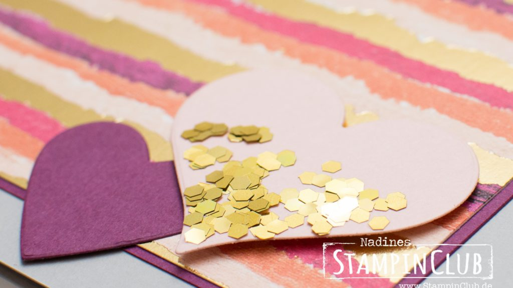 Stampin' Up!, StampinClub, Designerpapier Gemalt mit Liebe, Painted with Love Speciality DSP, Für Schatz-Karten, Sure do Love You, Glitter-Flocken in Gold