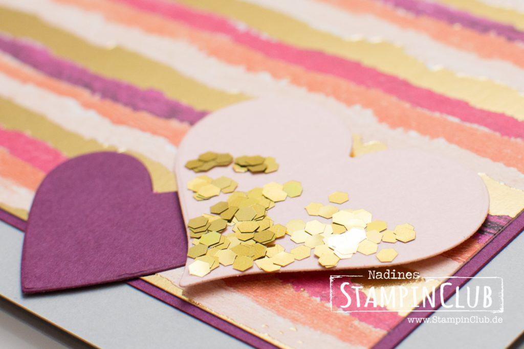 Gemalt mit Liebe, Stampin' Up!, StampinClub, Designerpapier Gemalt mit Liebe, Painted with Love Speciality DSP, Für Schatz-Karten, Sure do Love You, Glitter-Flocken in Gold