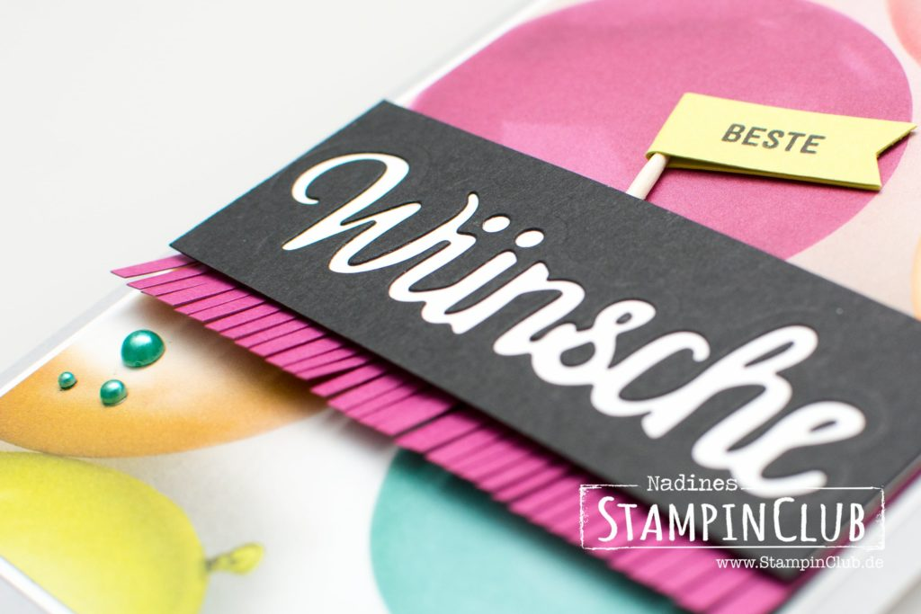 Bannerweise Grüße, Stampin' Up!, StampinClub, Perfekte Party, Picture Party, Designerpapier Perfekte Party, Perfect Party DSP, Thinlits Celebrate You, Thinlits Wunderbar