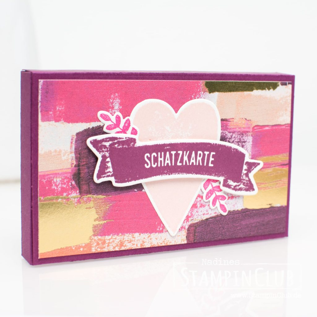 Stampin' Up!, StampinClub, Für Schatz-Karten, Sure Do Love You, Framelits Schachtel voller Liebe, Lots to Love Box Framelits, Besonderes Designerpapier Gemalt mit Liebe, Painted With Love Designer Series Paper