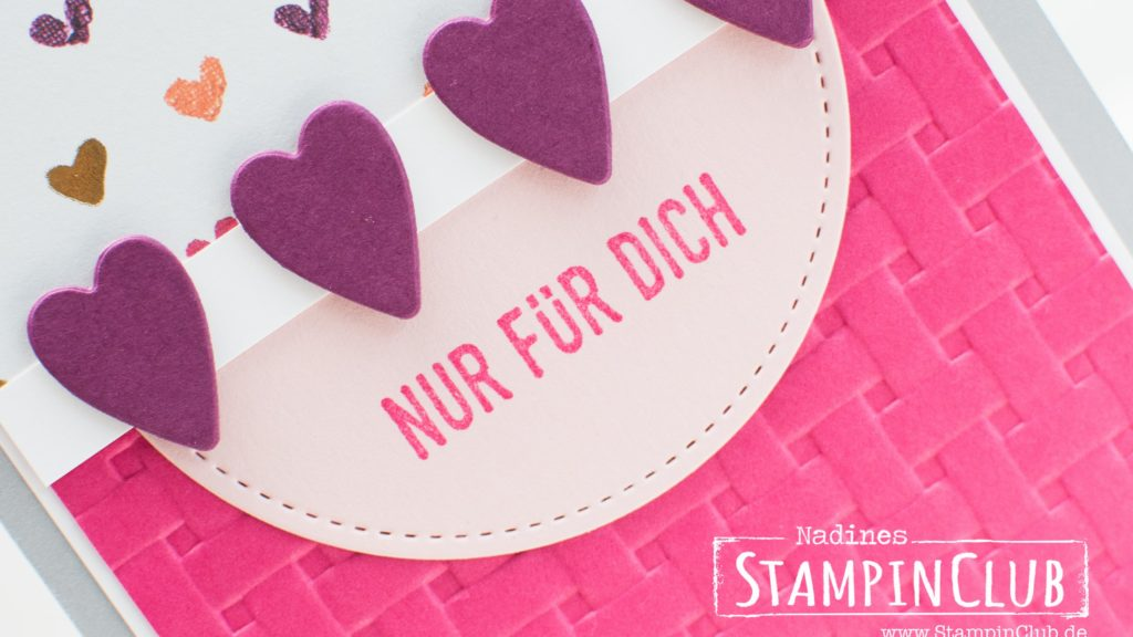 Stampin' Up!, StampinClub, Für Schatz-Karten, Sure Do Love You, Korbgeflecht Tiefen-Prägeform, Basket Weave Dynamic Folder, Designerpapier Gemalt mit Liebe, Painted with Love DSP