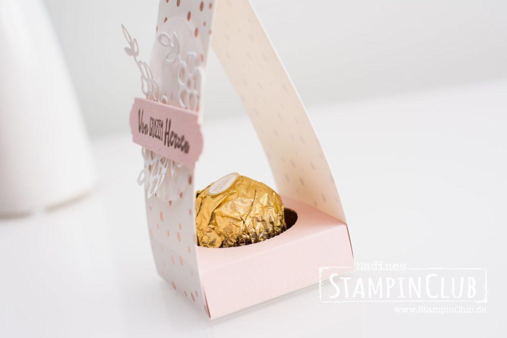Stampin' Up!, StampinClub, Gastgeschenk, Gästegoodie, Designerpapier Frühlingsglanz, Blütentraum, Gewellter Anhänger, Ferrero Rocher, Hochzeit