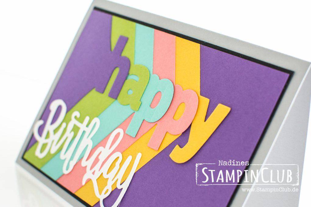 Stampin' Up!, StampinClub, Lagenweise Buchstaben, Layering Alphabet, Happy Birthday