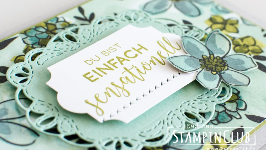 Stampin' Up!, StampinClub, Geteilte Leidenschaft, Share What You Love, Bestickte Grüße, Stitched all around, Bestickte Etikette, Stitched Labels