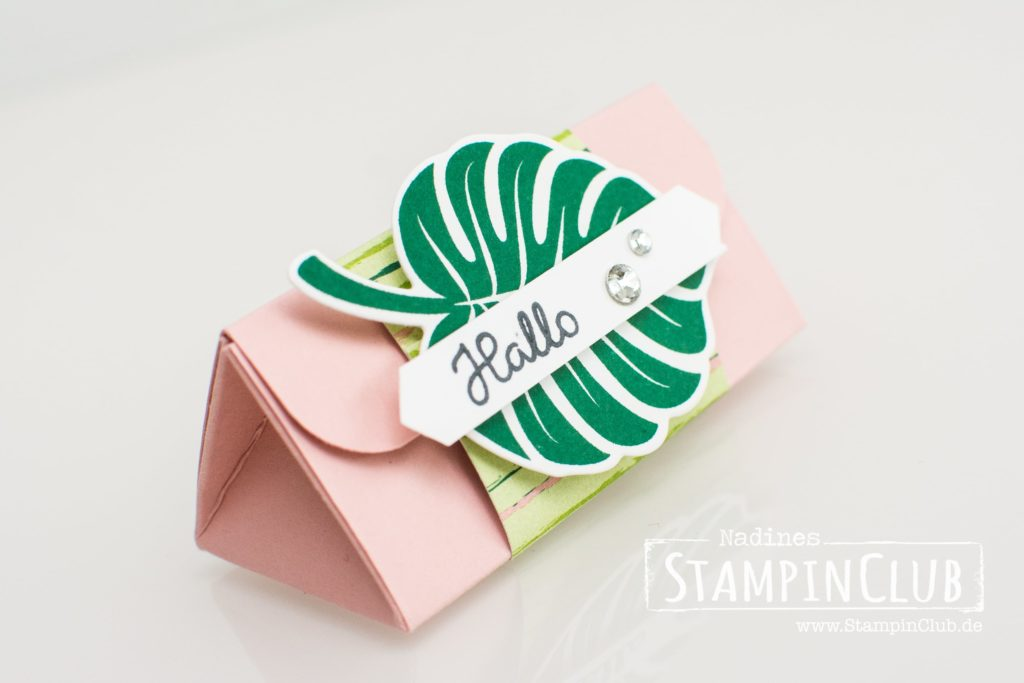 Stampin' Up!, StampinClub, Verpackung, Dreieckbox, Triangelbox, Tropenflair, Tropical Chic, Traumhaft Tropisch DP, Tropical Escape DSP