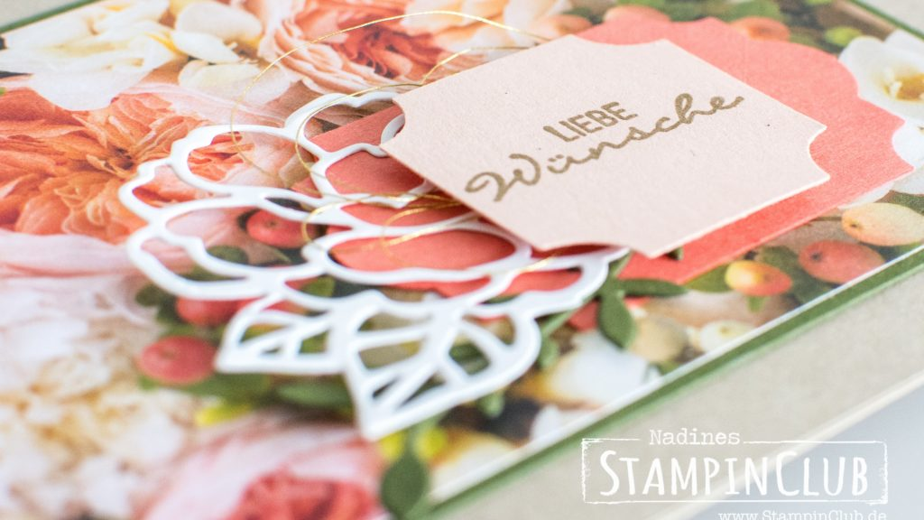 Stampin' Up!, StampinClub, Gartenzauber, Botanical Bliss, Thinlits Zauberhafte Anhänger, Botanical Tags Thinlits, DP Blütenpracht, Petal Promenade DSP