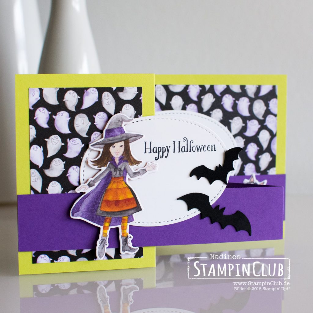 Stampin' Up!, StampinClub, DP Wie verhext, Toil & Truble DSP, Stanze Fledermäuse, Spooky Bats Punch, Cauldron Bubble, Halloween
