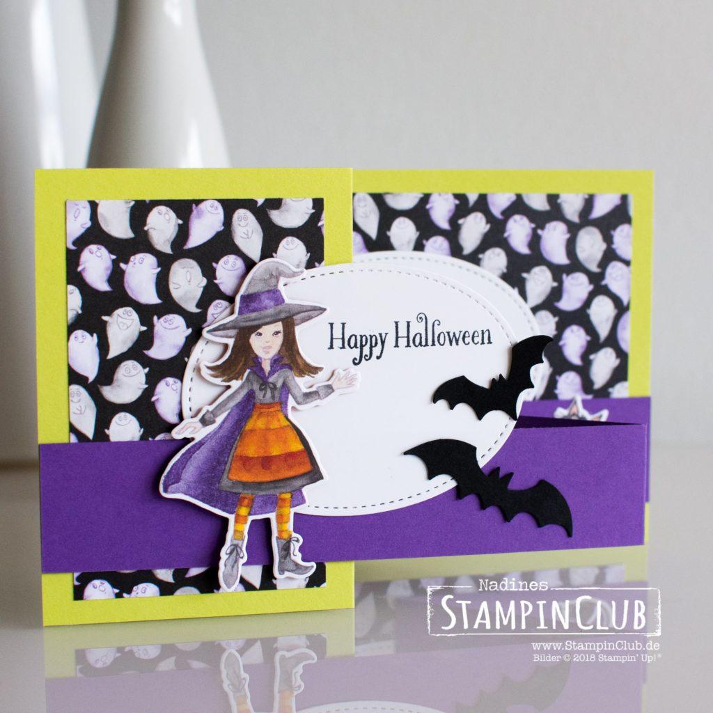 Stampin' Up!, StampinClub, DP Wie verhext, Toil & Truble DSP, Stanze Fledermäuse, Spooky Bats Punch, Cauldron Bubble, Halloween