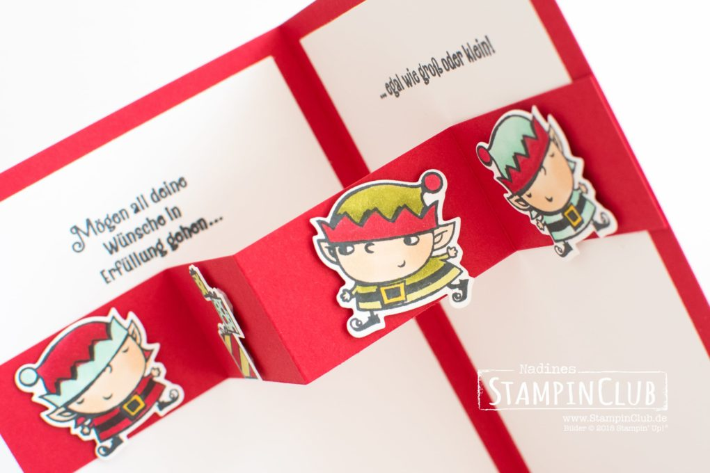 Stampin' Up!, StampinClub, Weihnachtswerkstatt, Signs of Santa, Framelits Formen Weg zum Weihnachtsmann, Santas Signpost Framelits Dies, Pop-up Karte