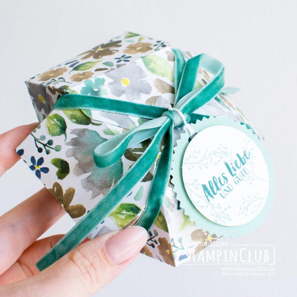 Edelstein-Box, Stampin' Up!, StampinClub, Besonderes Designerpapier Winterblüten, Eisblüten, Verpackung, Box