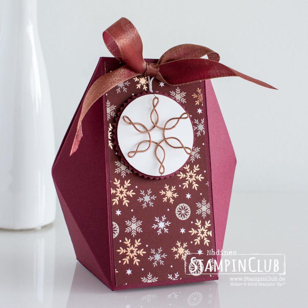 Facetten Box, Stampin' Up!, DSP Weihnachtszeit, Facetten Box, Drahtakzente Schneeflocken & Sterne