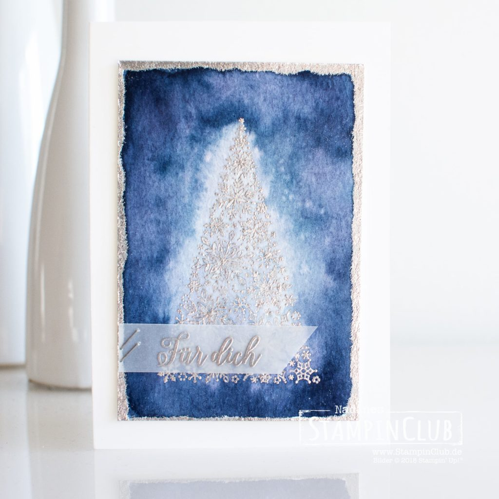 Wintermärchen, Stampin' Up!, StampinClub, Aqua Painter, Aquarellpapier, Embossing, Wintermärchen, Snow is Glistening, Flockengestöber, Snowflake Showcase