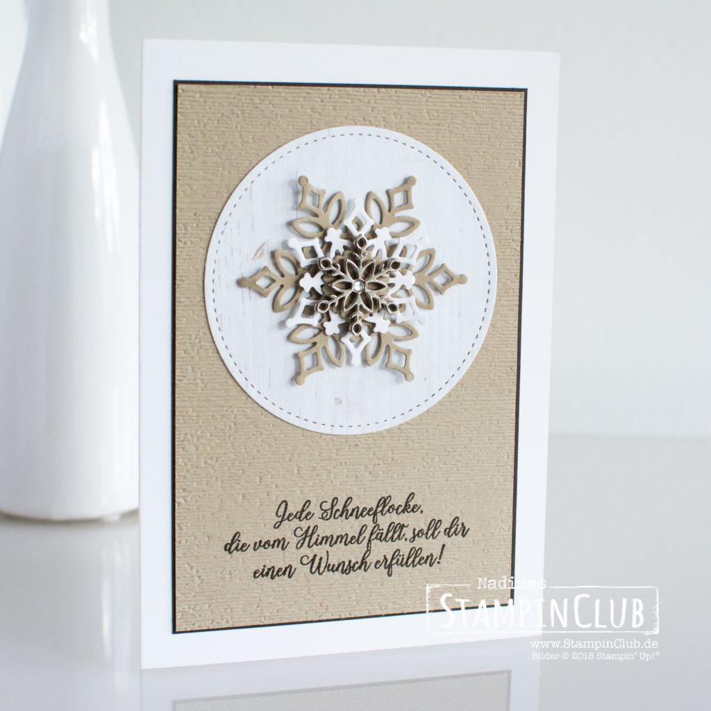 Schneegestöber, Stampin' Up!, StampinClub, Wintermärchen, Snow is Glistening, Thinlits Formen Schneegestöber, Snowfall Thinlits Dies, Metall-Accessoires Schneeflocken, Snowflake Trinkets