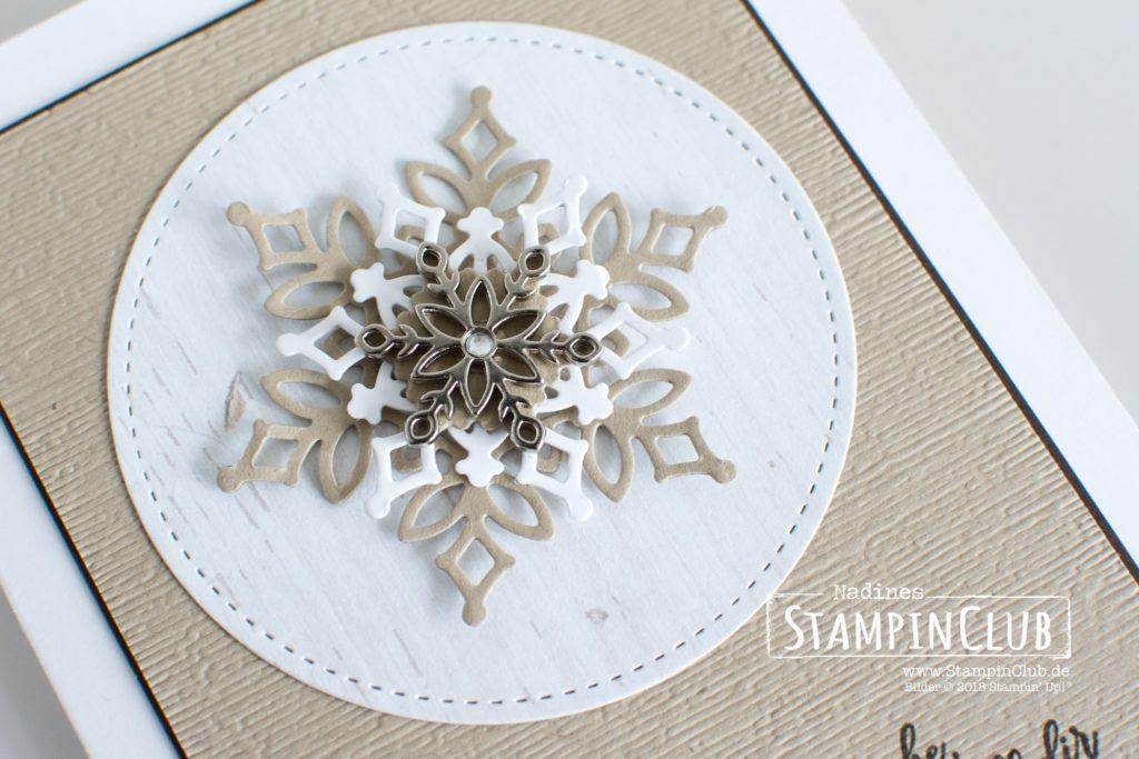 Stampin' Up!, StampinClub, Wintermärchen, Snow is Glistening, Thinlits Formen Schneegestöber, Snowfall Thinlits Dies, Metall-Accessoires Schneeflocken, Snowflake Trinkets