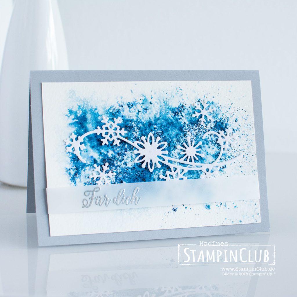 Stampin' Up!, StampinClub, Samtpapier in Weiß, White Velvet Sheets, Brushos, Wintermärchen, Snow is Glistening, Thinlits Formen Schneegestöber, Snowfall Thinlits Dies