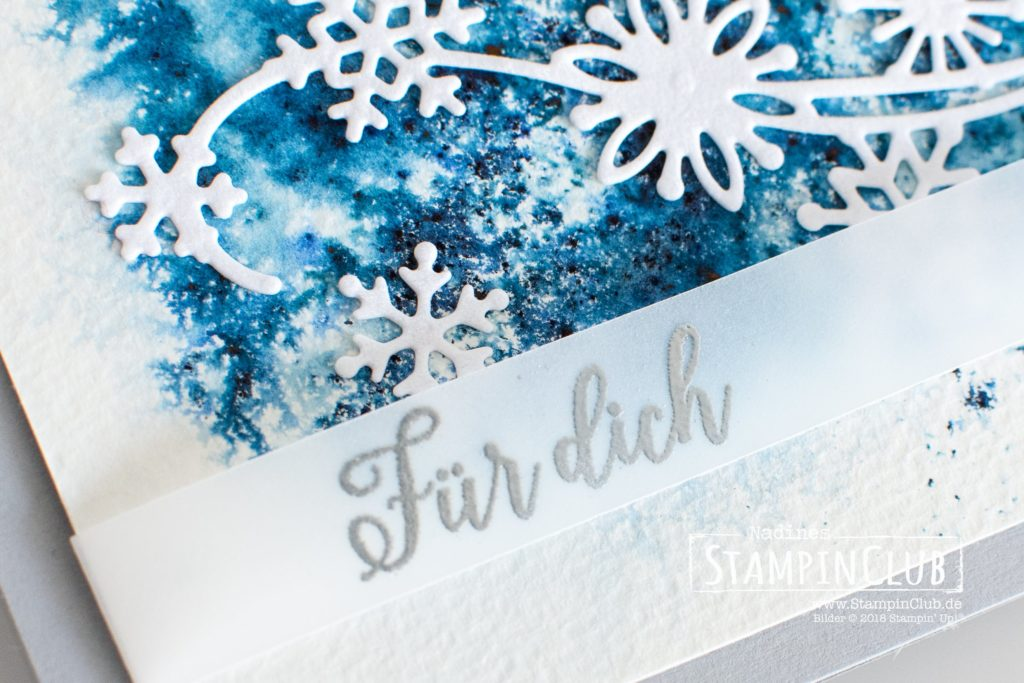 Stampin' Up!, StampinClub, Samtpapier in Weiß, White Velvet Sheets, Brushos, Wintermärchen, Snow is Glistening, Thinlits Formen Schneegestöber, Snowfall Thinlits Dies