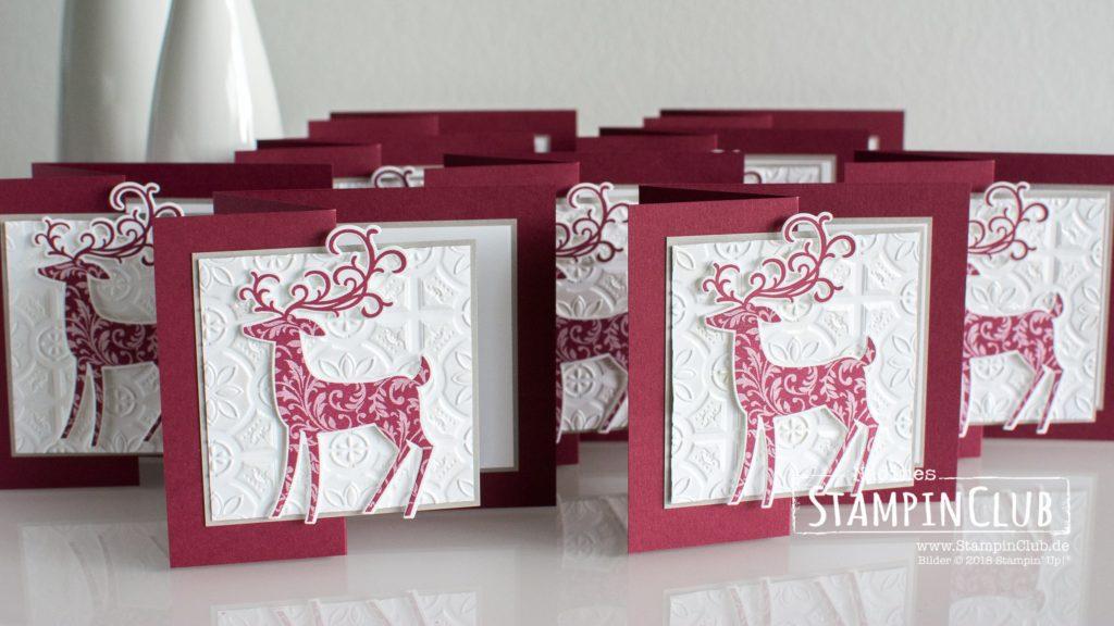 Stampin' Up!, StampinClub, Weihnachtshirsch, Dashing Deer, Thinlits Formen Weihnachtswild, Detailed Deer Thinlits Dies, Kachelkunst