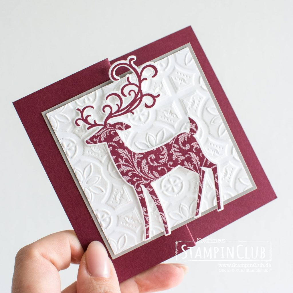 Stampin' Up!, StampinClub, Weihnachtshirsch, Dashing Deer, Thinlits Formen Weihnachtswild, Detailed Deer Thinlits Dies, Kachelkunst