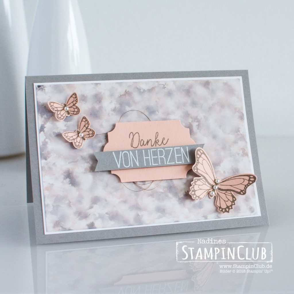 Polished Stone, Stampin' Up!, StampinClub, Polished Stone Technik, Schmetterlingsglück, Butterfly Gala, Stanze Schmetterling, Butterfly Duet Punch
