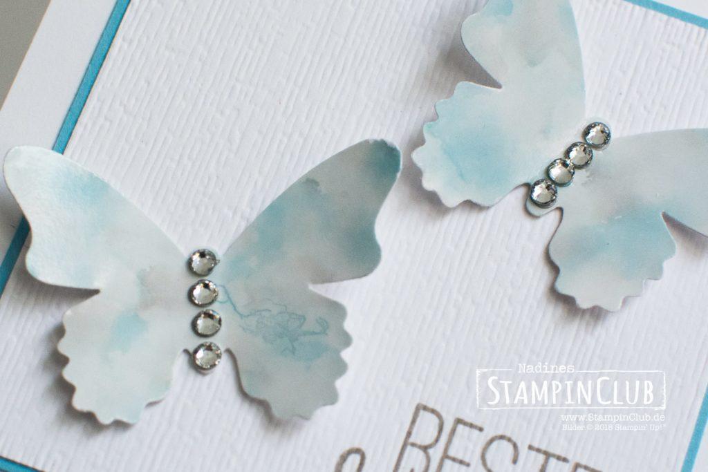 Stampin' Up!, StampinClub, Polished Stone Technik, Schmetterlingsglück, Butterfly Gala, Stanze Schmetterlingsduett, Butterfly Duet Punch