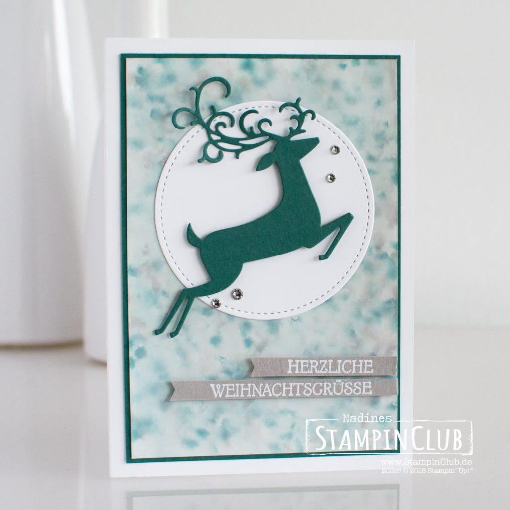 Weihnachtswild, Stampin' Up!, StampinClub, Polished Stone Technik, Weihnachtshirsch, Dashing Deer, Thinlits Weihnachtswild, Detailed Deer Thinlits