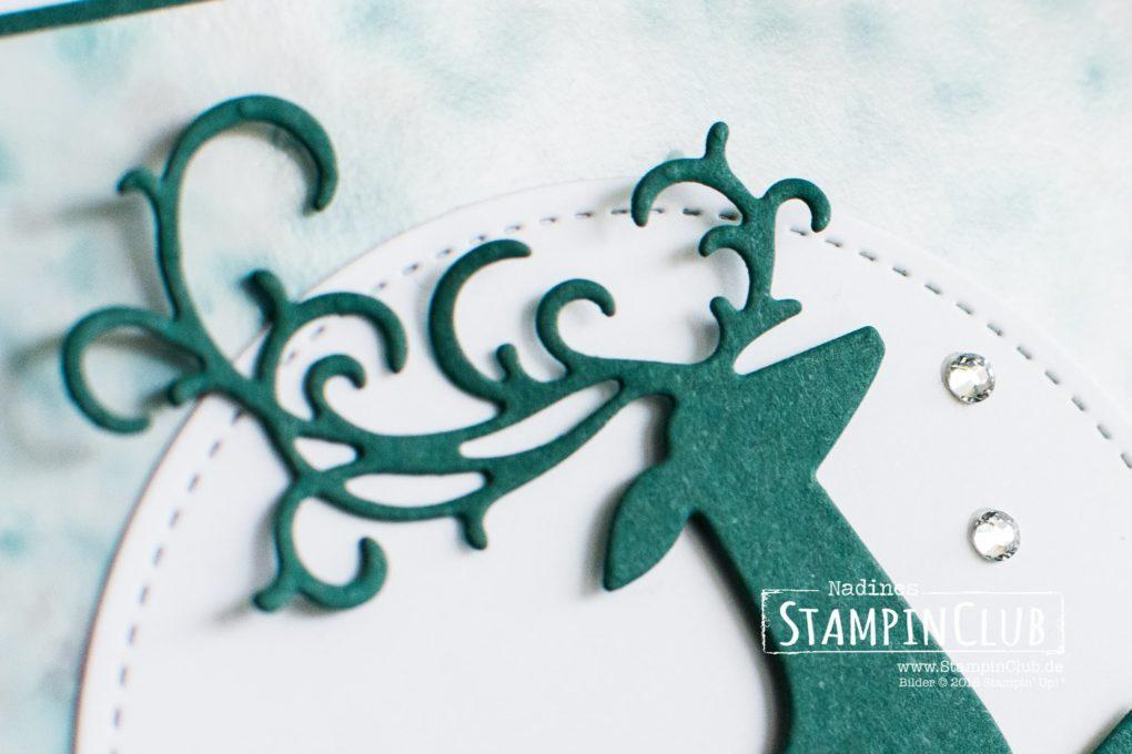 Stampin' Up!, StampinClub, Polished Stone Technik, Weihnachtshirsch, Dashing Deer, Thinlits Weihnachtswild, Detailed Deer Thinlits